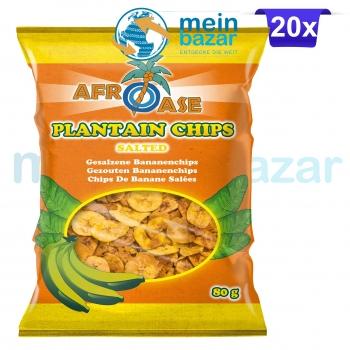 Afroase Plantain Koch Bananen Chips leicht gesalzen (Salted) Bananenchips - Hafif tuzlu Muz Chips 20x80 g