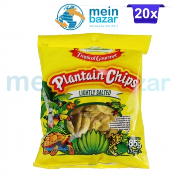 Tropical Gourmet Plantain Koch Bananen Chips leicht gesalzen (Salted) Bananenchips - Hafif tuzlu Muz Chips 20x85 g