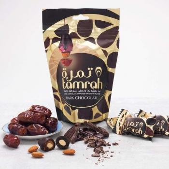 Tamrah Schokodatteln mit Dunkelschokolade und Mandeln